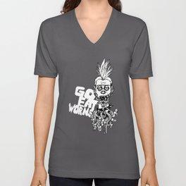 EatWorms Wht Unisex V-Neck