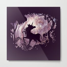 Unicorn in magical forest Metal Print