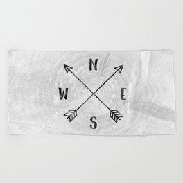 Black and White Wood Grain Compass Beach Towel