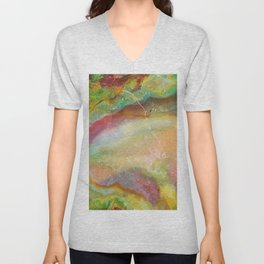 Colorful Abstract Marble Stone Green overtones Unisex V-Neck