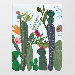 Cactus and Succulents Colorful Flowers Poster