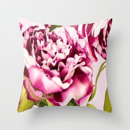 Peonies on a pastel pink background - #Society6 #buyart Throw Pillow