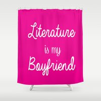 literature Shower Curtains featuring literature is my boyfriend pink by Beautiful Bibliophile's Boutique