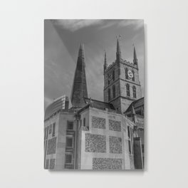Old and New in Monochrome Metal Print