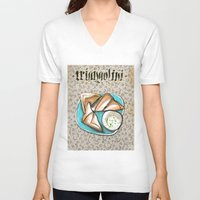 breakfast V-neck T-shirts featuring Breakfast by Senchy