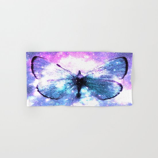 Celestial Butterfly Pink Lavender Aqua Hand & Bath Towel