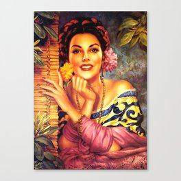 Jesus Helguera Painting of a Mexican Girl Beside Rattan Curtain Canvas Print