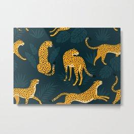 Leopard pattern Black Metal Print