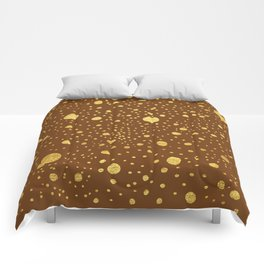 Gold leaf hand drawn dot pattern on brown Comforters