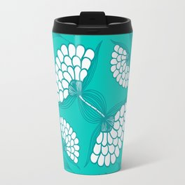 African Floral Motif on Turquoise Travel Mug
