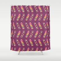back to the future Shower Curtains featuring Back to the Future by Flor Tate