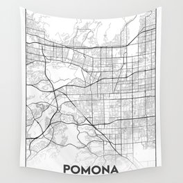 Minimal City Maps - Map Of Pomona, California, United States Wall Tapestry