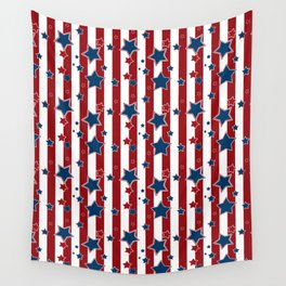 Blue stars, red striped Wall Tapestry