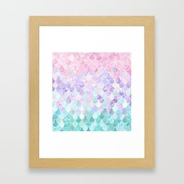 Mermaid Pastel Iridescent Framed Art Print