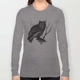 Great Cyclopean Owl - Black and White Long Sleeve T-shirt