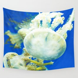 Blue Jellyfish Under the Sea Underwater Photography Saturated Pop Art Color Wall Art Wall Tapestry