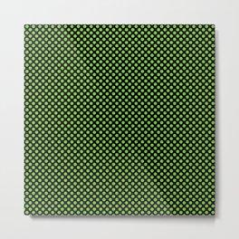 Black and Jasmine Green Polka Dots Metal Print