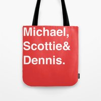 chicago bulls Tote Bags featuring Chicago Bulls (classic) by Will Wild