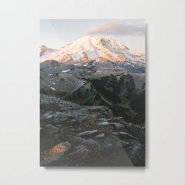 Gold Mountain Glow Metal Print