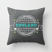 england Throw Pillows featuring England by My Little Thought Bubbles