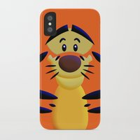 cartoons iPhone & iPod Cases featuring Cute Orange Cartoons Tiger Apple iPhone 4 4s 5 5s 5c, ipod, ipad, pillow case and tshirt by Three Second