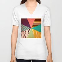 umbrella V-neck T-shirts featuring Umbrella by Louise Machado
