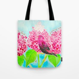 Strawberry Finch & Hydrangeas Tote Bag
