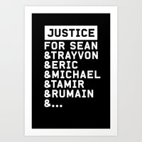 justice Art Prints featuring Justice by YEAH PRETTY MUCH