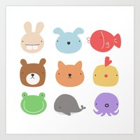 stickers Art Prints featuring Animal Stickers by xiuen