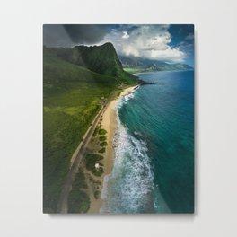 Aerial view of the beautiful coastline of Hawaii Metal Print