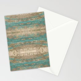 Rustic Wood - Beautiful Weathered Wooden Plank - knotty wood weathered turquoise paint Stationery Cards