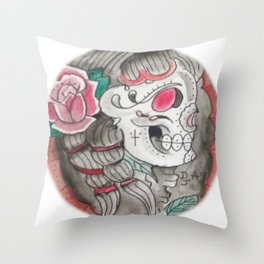Senorita skull Throw Pillow