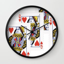 RED QUEEN OF HEARTS CASINO PLAYING CARDS Wall Clock