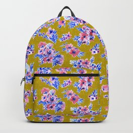 French blue and blush pink watercolor flowers on mustard yellow bark cloth Backpack