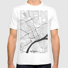 Detroit Map Gray Mens Fitted Tee LARGE White