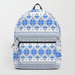 Wellspring - Star Alatyr - Ethno Ukrainian Traditional Pattern - Slavic Symbol 2 Blue Backpack