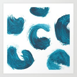 Comma, Abstract, Blue Duck Art Print