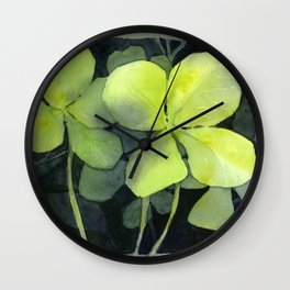 Clover Watercolor Four Leaf Clover Painting Lucky Charm Pattern Wall Clock