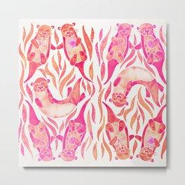 Five Otters – Pink Ombré Metal Print