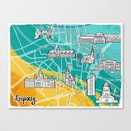 Leipzig Map: Buildings Edition Canvas Print