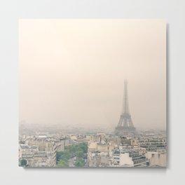 Eiffel Tower over soft peach background Metal Print