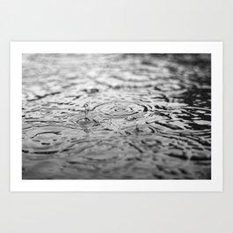 Black and white raindrops Art Print