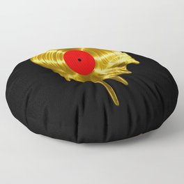 Melting vinyl GOLD / 3D render of gold vinyl record melting Floor Pillow