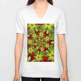 Fantasy Flowers Green And Red, Fractals Art Unisex V-Neck