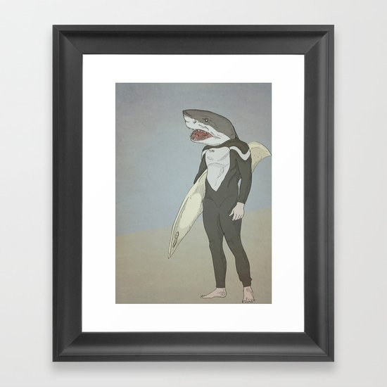 SHARK SURFER Framed Art Print