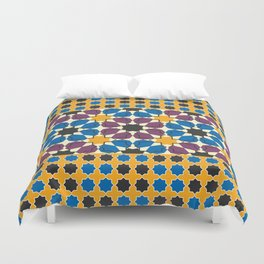 Moroccan seamless pattern, Morocco. Patchwork mosaic with traditional folk geometric ornament Duvet Cover