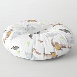 "Night Creatures ""Owl, bat and crow"" Pattern Floor Pillow"