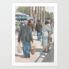 Au Marché de Piégut Art Print