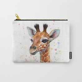 Giraffe Baby Animal Watercolor Whimsical Nursery Animals Carry-All Pouch