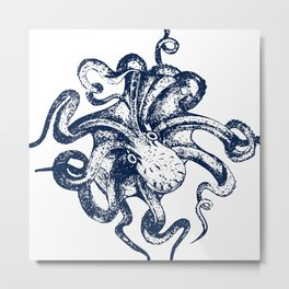 Octopus Nautical Navy and White Metal Print